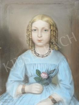 Signed Perger - Girl in a Blue Dress with Roses, 1851