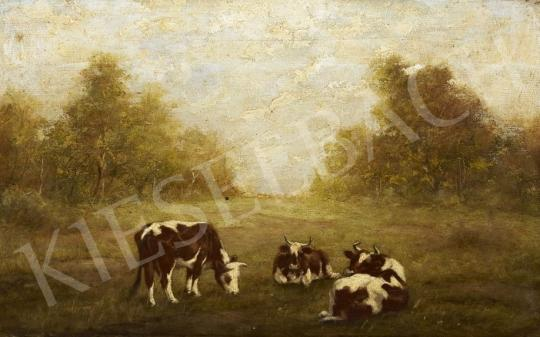 Eladó  Németh jelzéssel - Legelésző tehenek festménye