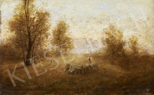 Eladó  Németh jelzéssel - Tájkép bárányokkal festménye