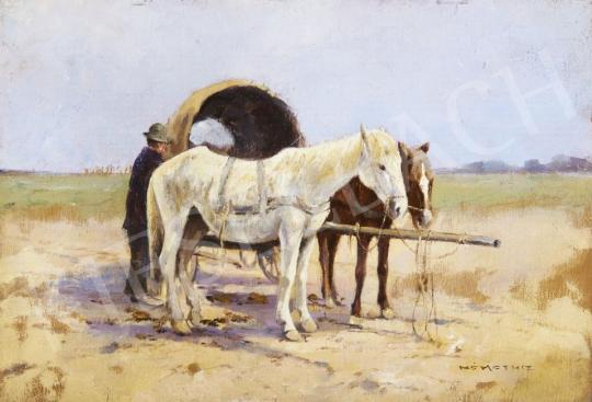 For sale  Signed Németh - Horses with a Wagon 's painting
