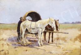 Signed Németh - Horses with a Wagon