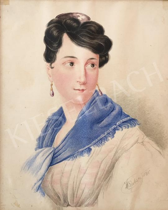 Eladó Bubics Zsigmond - Hölgy kék kendővel festménye