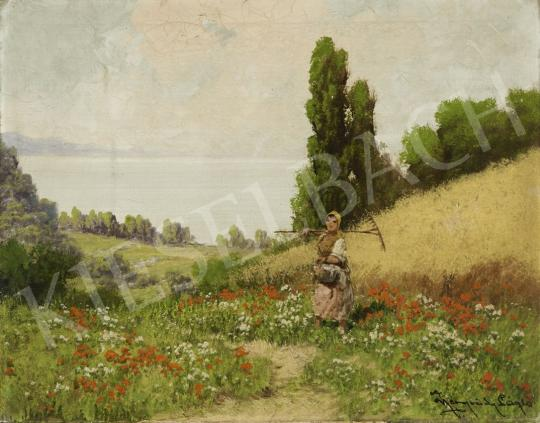 Neogrády, László - On a Meadow with Red Poppies painting