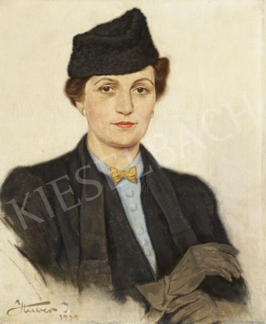Eladó Huber István - Kesztyűjét igazító hölgy festménye