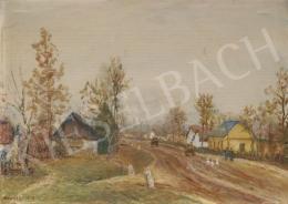 Kunffy Lajos - Falusi utca Somogyban (1946)