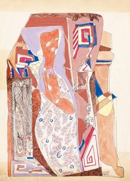 Kádár Béla - Nő virágos ruhában