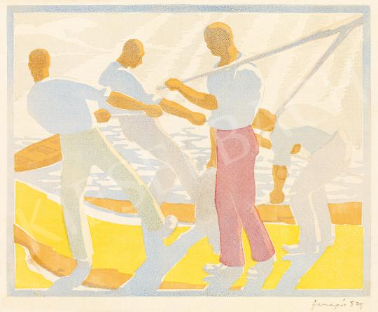 Faragó Endre - Vitorlát feszítő férfiak, 1929 | 53. Őszi Aukció aukció / 11 tétel
