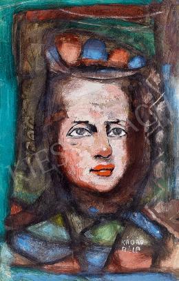 Kádár Béla - Nő mintás kendőben