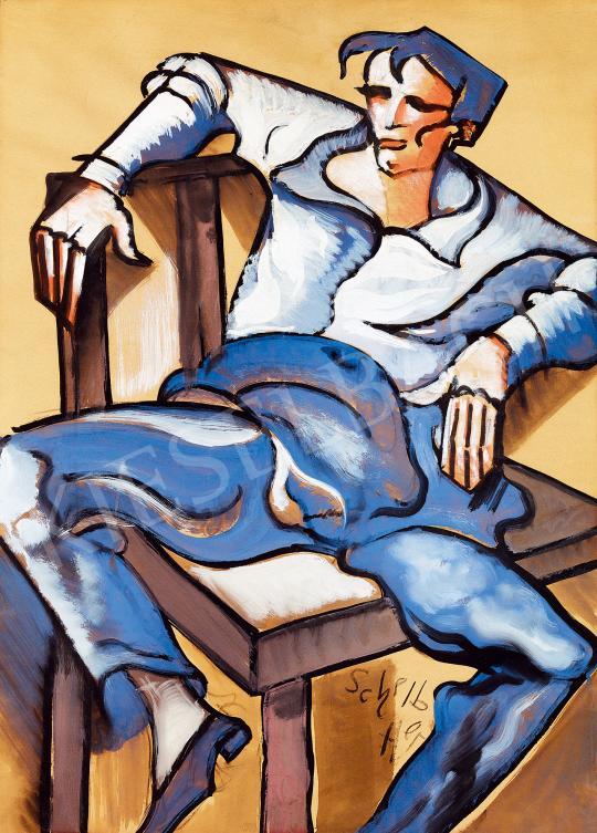 Scheiber Hugó - Széken ülő csavargó, 1930-as évek | 53. Őszi Aukció aukció / 27 tétel