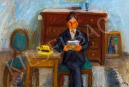 Kmetty János - Műteremben olvasó férfi (Önarckép), 1930-as évek