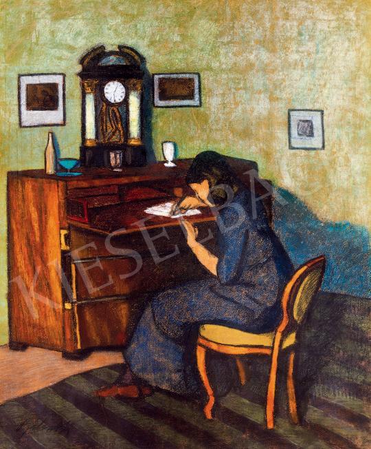 Bálint Rezső - Levelet író nő (Délutáni fények a szobában), 1910-es évek | 53. Őszi Aukció aukció / 40 tétel