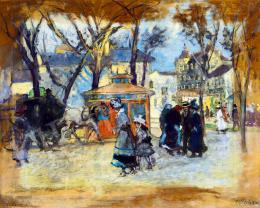 Berkes Antal - Feld Színház előtti részlet (Városi impresszió), 1916