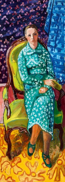 Fenyő György - Zöld ruhás nő fotelben, 1933