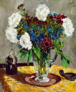 Biai-Föglein István - Műtermi csendélet piros, fehér, kék virágokkal