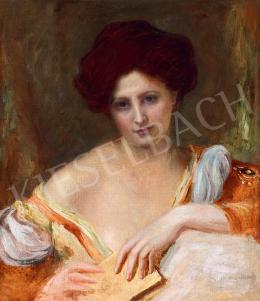 Jendrassik, Jenő - Young Beauty with Poem Book, c. 1910