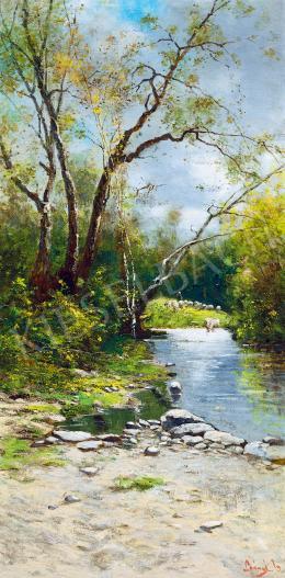 K. Spányi, Béla - Sheep Grazing on the Riverbank