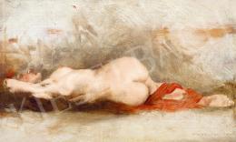 Karlovszky Bertalan - Fiatal akt műteremben vörös drapériával
