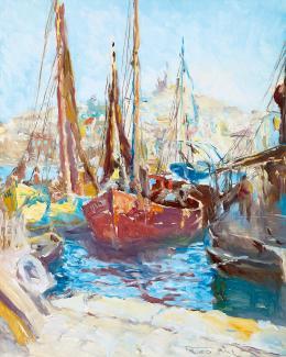 Fried Pál - Mediterrán kikötő vitorlásokkal