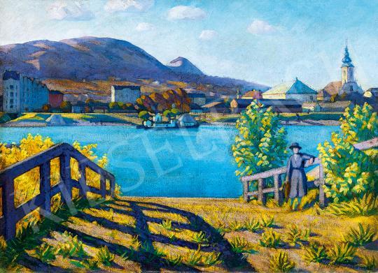 Tipary Dezső - Óbuda látképe (Kompnál, Lila árnyékok), 1920 | 53. Őszi Aukció aukció / 115 tétel