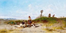 Böhm Pál - Beszélgetők a határban (Dinnyeevők), 1893