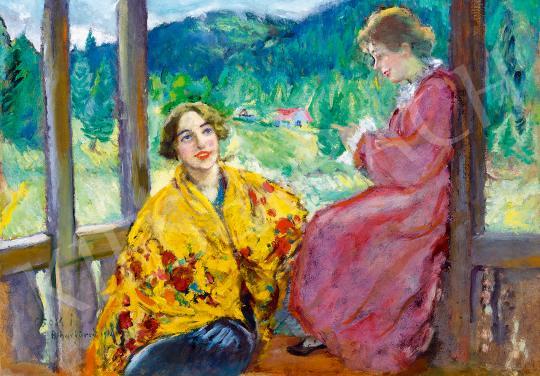 Csók István - Beszélgetők a tornácon (Erdélyi táj), 1940   53. Őszi Aukció aukció / 126 tétel