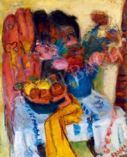Czóbel Béla - Műtermi csendélet gyümölcsökkel és virágokkal