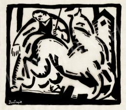 Bortnyik Sándor - Figura lóval, 1918 körül