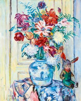 Csók István - Műtermi csendélet krizantémokkal, tulipánokkal, 1939