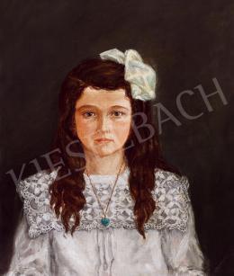 Derkovits Gyula - Fehér ruhás kislány szív alakú türkisz medalionnal