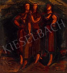 Barcsay Jenő - Szentendrei részlet (a hátoldalon: Női alakok), 1935 körül