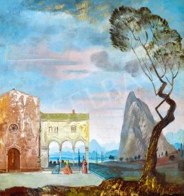Molnár C. Pál - Itáliai táj (Mária és Erzsébet találkozása), 1940 körül