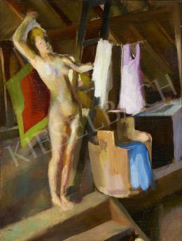 Ismeretlen festő, 1930 körül - Női akt ruhákkal