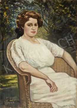 Dittrich Zoltán - Hölgy kerti fotelben (Magabiztosság), 1911