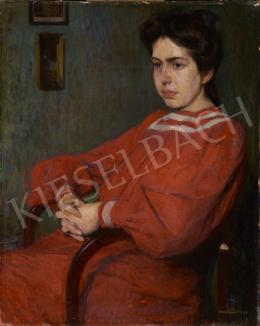 Kosztolányi Kann Gyula - Thonet-székben ülő nő (Piros ruha)