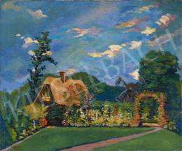 Ismeretlen magyar festő E. Gellért jelzéssel, 20. század első harmada - Virágoskert háttérben szélmalommal (Cleveland)
