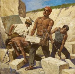 Ismeretlen magyar festő olvashatatlan jelzéssel, 20. század közepe - Építők