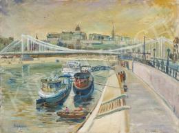 Ismeretlen magyar festő Buczkó jelzéssel, 1970-es évek - Budapest az Erzsébet-híddal