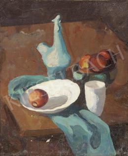Ismeretlen magyar festő, 20. század közepe - Almás csendélet fehér pohárral