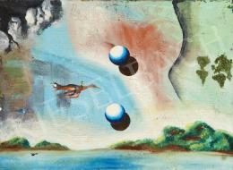Ismeretlen festő olvashatatlan jelzéssel - Mese a varázsmadárral és Magritte-gömbökkel