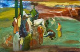 Ismeretlen festő, 20. sz. második harmada - Fehér lovas zöld számadáskönyvvel