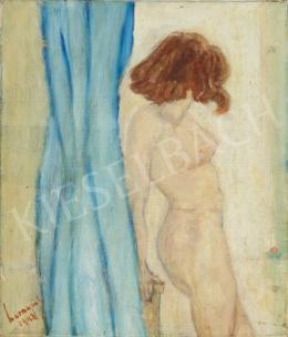 Ismeretlen magyar festő olvashatatlan jelzéssel - Női akt fényben (Kék függöny), 1943