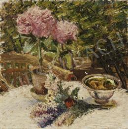 Ismeretlen festő, 20. sz. első harmada - Napfényes kertben (Hortenzia)