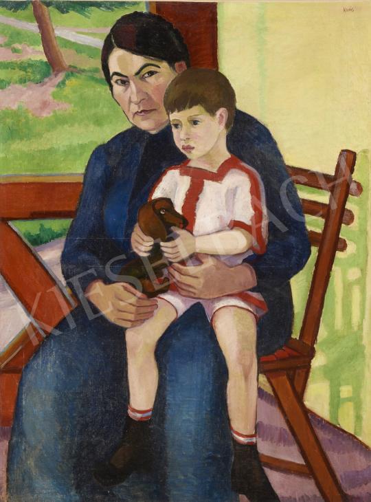 Ismeretlen magyar festő Kovács jelzéssel, 1910 körül - Anya gyermekével festménye