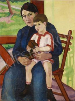 Unknown Hungarian painter with a sign of Kovács, c. 1920 - Mother and Son
