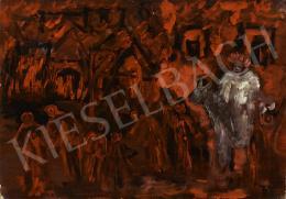 Ismeretlen magyar festő, 20. század második harmada - Tűzvész (Fehér lovas indián fejdísszel)