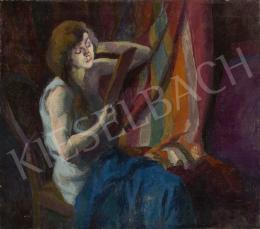 Ismeretlen magyar festő, 20. század második harmada - Tükröt tartó nő csíkos drapériával