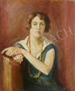 Ismeretlen magyar festő olvashatatlan jelzéssel - Ülő nő gyöngysorral, 1926