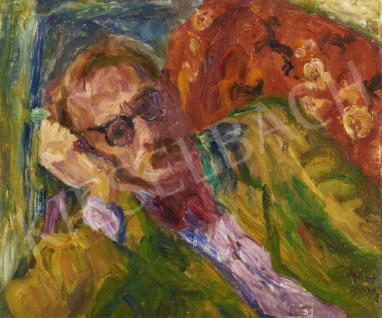 Frank, Frigyes - Elbowing Self-Portrait painting