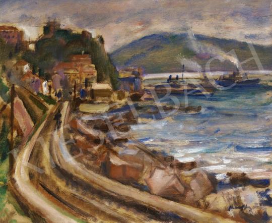 Márffy Ödön - Öböl gőzhajókkal festménye