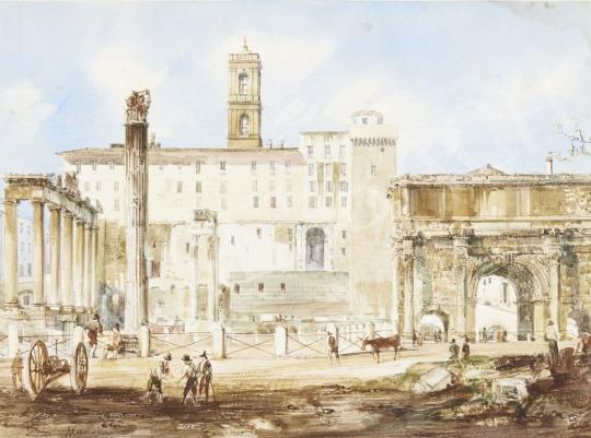 Marchi, Vincenzo - A római Forum látképe, 1850-es évek festménye